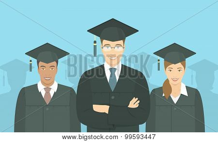 Young People Graduate Bachelor Degree Flat Concept