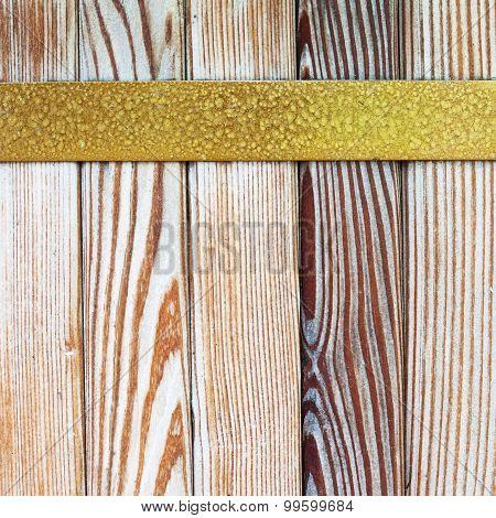 Vintage Yellow Metal Border. Wooden Tiles Pattern Background,