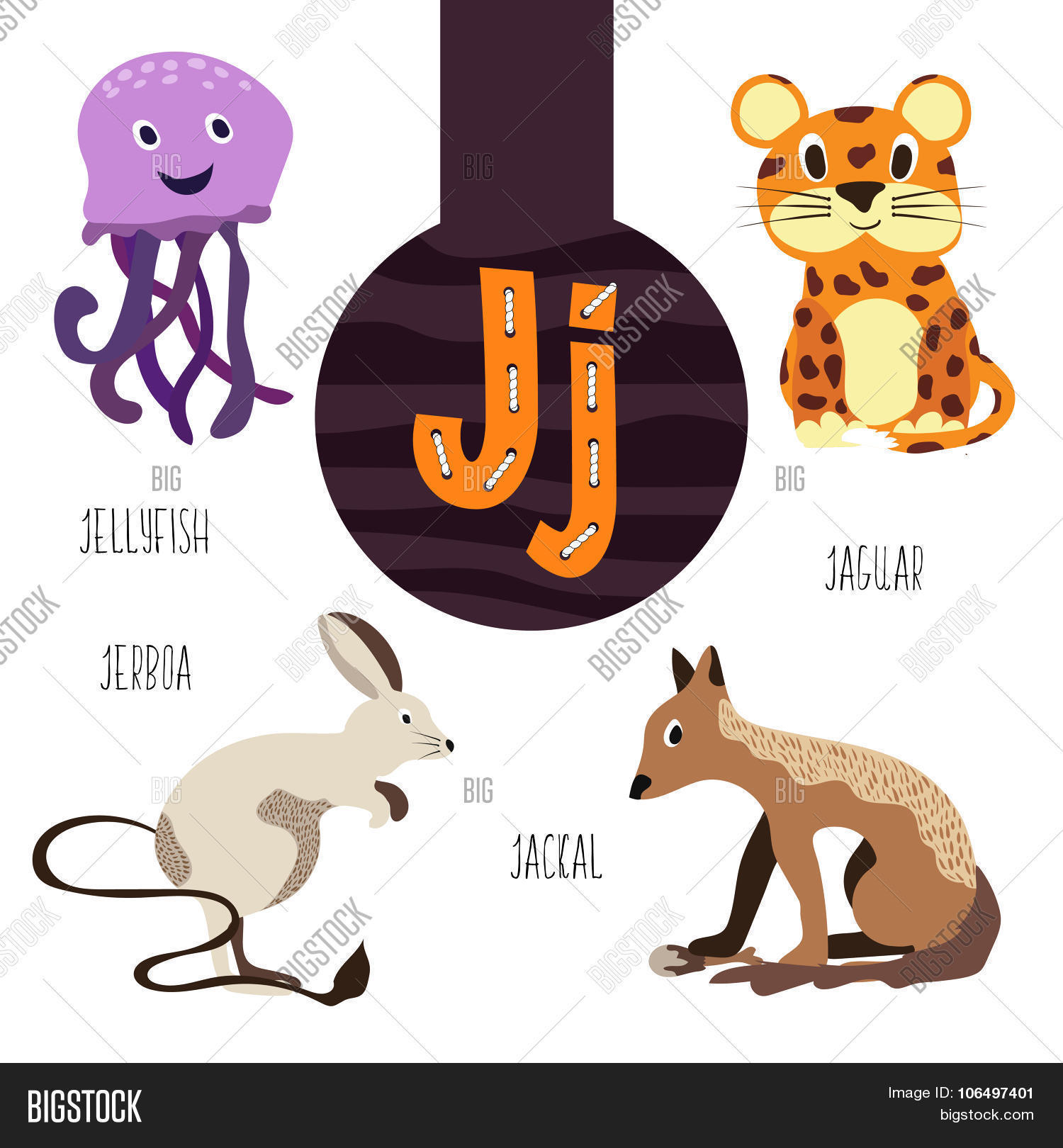 Fun Animal Letters Alphabet Vector &