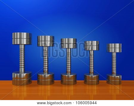 Row Of Exercise Steel Dumbbells On Wood Plank
