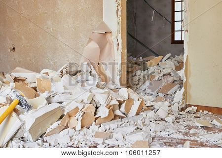 Damaged rubble in destroyed home for demolition poster