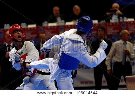 ST. PETERSBURG, RUSSIA - OCTOBER 17, 2015: Taekwondo WTF junior teams match Russia vs Iran during the martial arts festival Baltic Sea Cup in Sibur Arena. Iran won the match