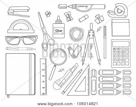Stationery tools set. Contour