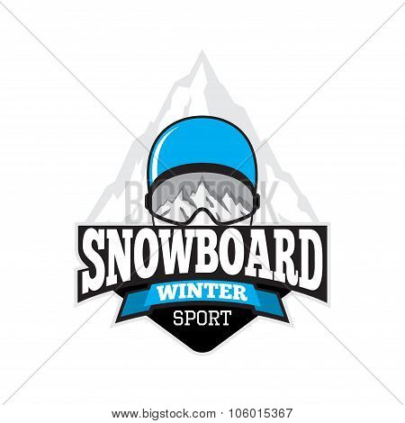 Vector Label Of Snowboard