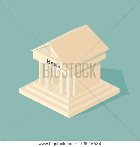 Bank building.  Symbols of Business and Finance.