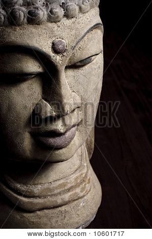 Old Buddha head statue
