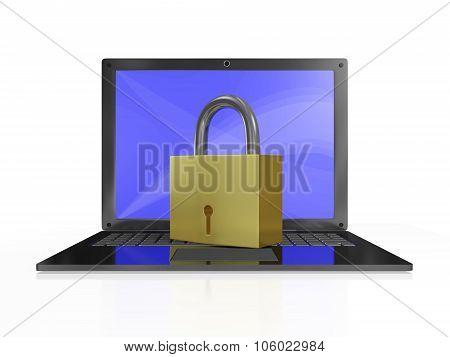 Security Padlock On Laptop Computer