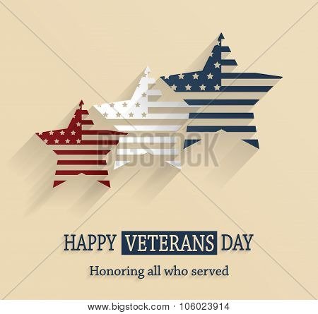 Happy Veterans Day poster. Honoring all who served