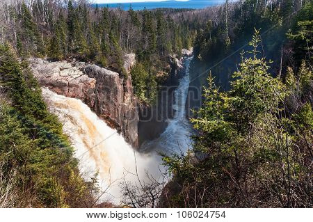 Waterfalls And Boreal Forest