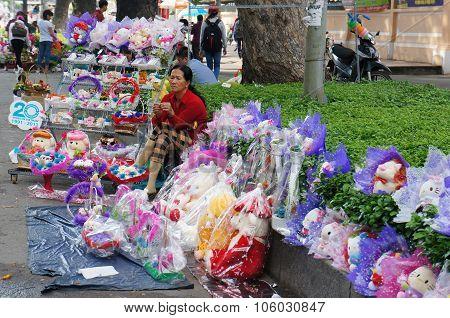 Vietnamese Street Vendor, Flower Outdoor Market