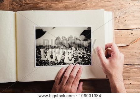 Wedding photo on a table