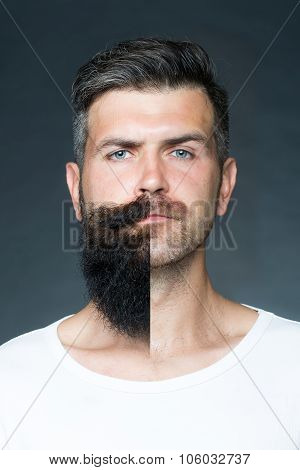 Man With Face Half Shaved