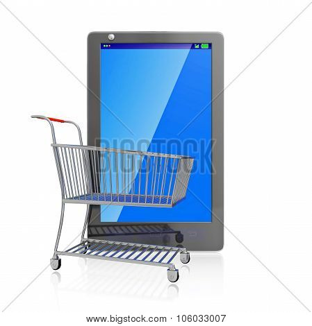 Shopping Cart And Touch Screen Mobile Phone