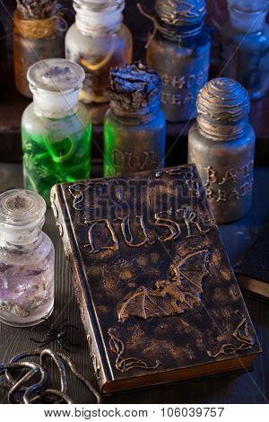 magic book witch apothecary jars potions halloween decoration