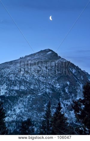 pre-dawn moon over half mountain, rocky mountain national park, colorado poster
