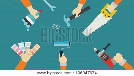 carpenter tools construction tool repair hands saw screw driver flat illustration