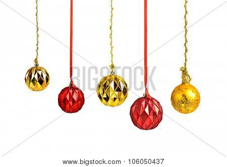 Hanging christmas red and golden holiday balls isolated