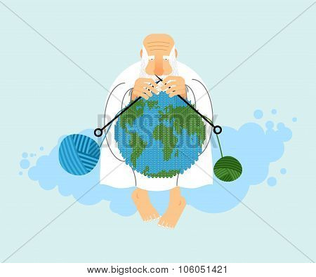 God Sitting On Cloud And Knit Planet Earth. Creation Of  Earth. An Elderly Man With Beard In White C