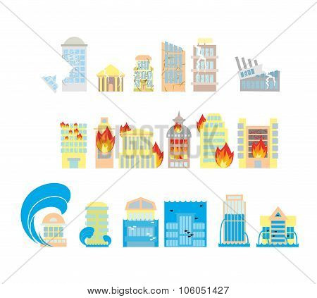 Disaster Icon Collection. Destruction Of Buildings Set Of Icons. Earthquake Fault Skyscrapers. Fire