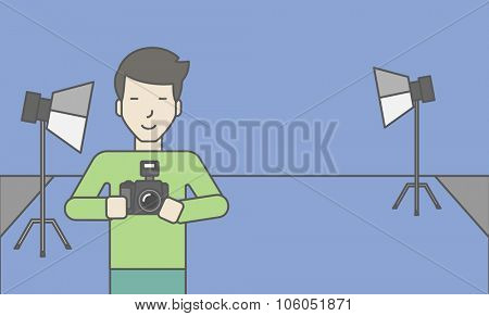 A smiling asian photographer holding a camera and standing inside the studio. Vector line design illustration. Horizontal layout with a text space for a social media post.