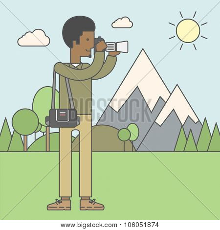 An african-american photographer taking photo in mountains. Vector line design illustration. Square layout.