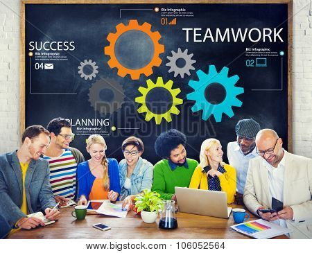 Teamwork Team Group Gear Partnership Cooperation Concept poster
