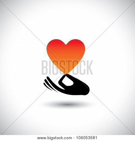 Heart Or Love Symbol In Hand Vector  Logo Icon