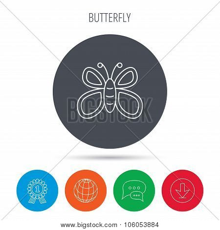 Butterfly icon. Dreaming sign.