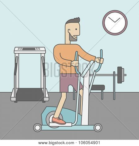 A caucasian hipster man with beard exercising on a elliptical machine in the gym. Vector line design illustration. Square layout.