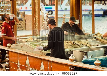 Fast Food Buffet Workers On The Boats