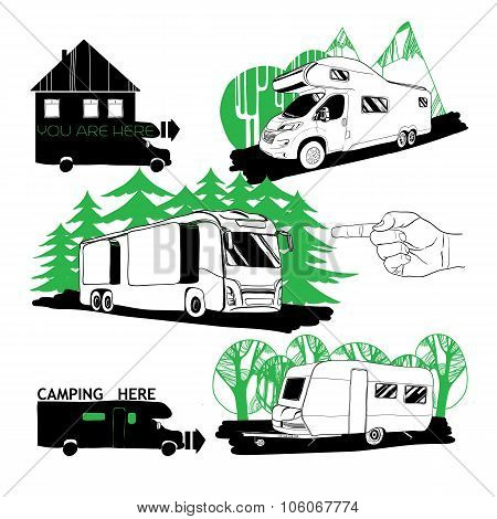 Vector illustrarion set of different motorhomes and points camping. Logo design poster
