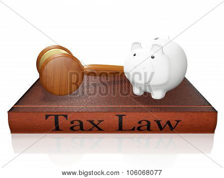 Tax Law Book Piggy Bank And Judge Gavel