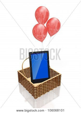 Touch Screen Mobile In Basket And Balloons