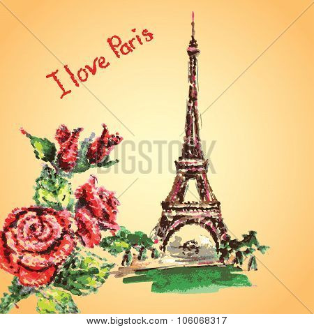Eiffel Tower,lettering,pink Hearts.hand Drawn Watercolor Decor