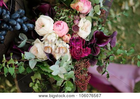 Beautiful Wedding Boho Bouquet Of Red And Pink Flowers And Greens.