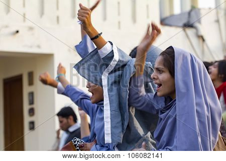 Female Muslim Students Protest