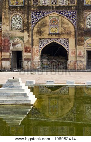 Wazir Khan Mosque Inner Yard With Fountain