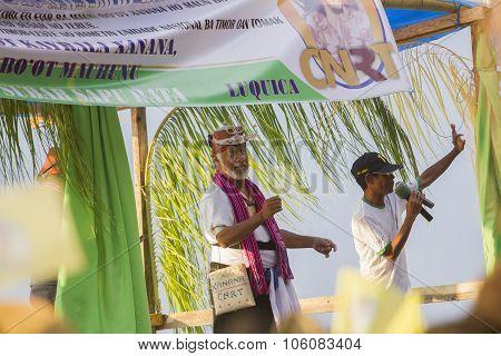 Xanana Gusmao At A Cnrt Campaign Rally