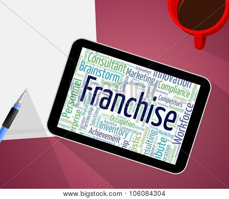Franchise Word Represents Licence Prerogative And Wordcloud