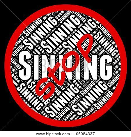 Stop Sinning Shows Warning Sign And Control