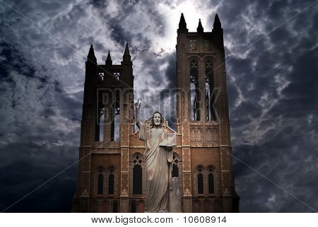 Catholic Church with Jesus Christ statue