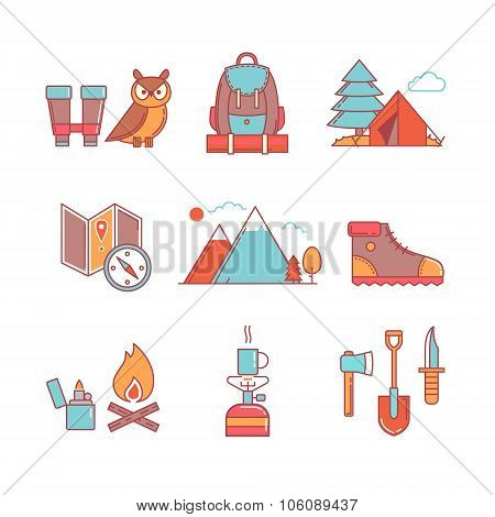 Forest and mountains hiking thin line icons set