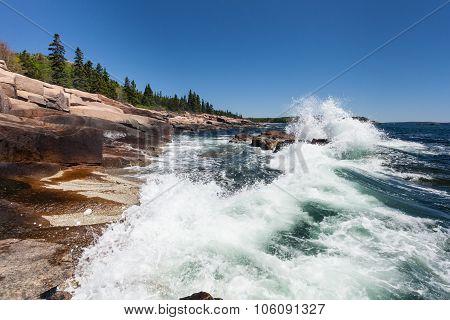 Waves Crashing Along The Coast Of Acadia National Park In Maine