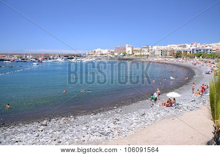 Playa de San Juan, Tenerife, Spain - July 26, 2015: Picturesque beach in Playa de San Juan, Tenerife