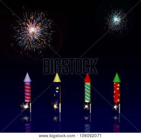 Illustration of Fireworks Rocket with Lit Fuses