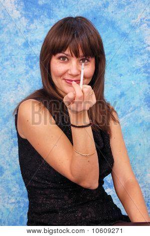 Smoking young woman