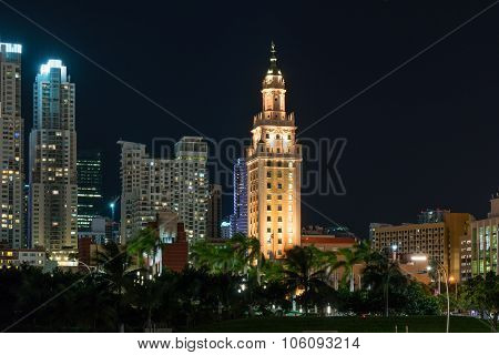 Freedom Tower In Miami Florida At Night