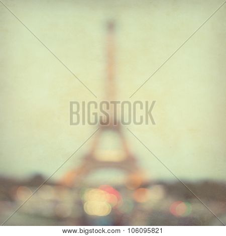 Defocused lights of Paris in vintage style.