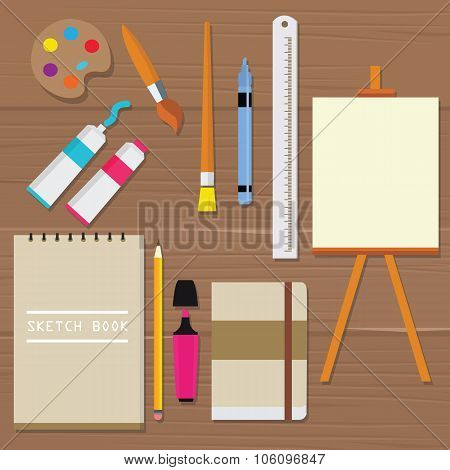 painting icon vector object palette paint tools equipment art brush canvas sketch book oil tube rule