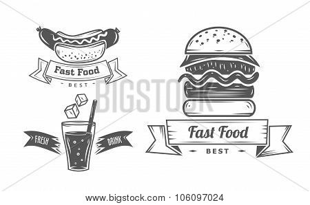 Set of vintage fast food restaurant signs, panel, badge and label